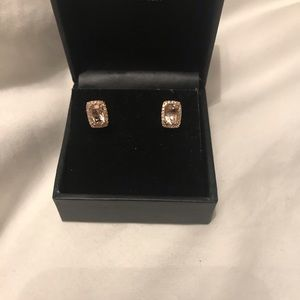 Jewelry - 14k Rose Gold 1CT Morganite Diamond Earrings